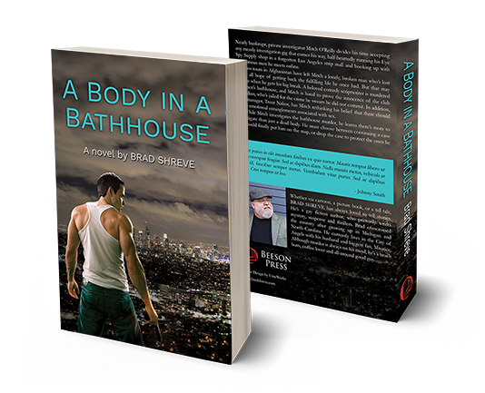 "book cover of ""A Body in a Bathhouse"" by Brad Shreve"